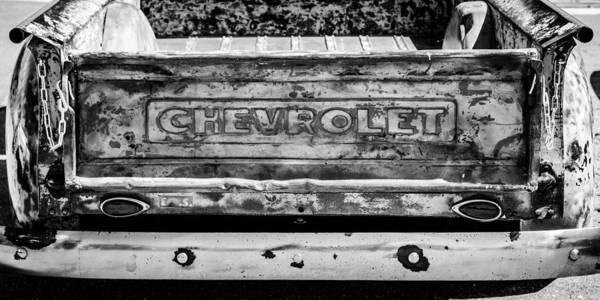 Photograph - Chevrolet Truck Tail Gate Emblem -0839bw by Jill Reger