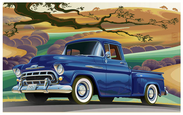 Truck Digital Art - 1957 Chevrolet 3100 Truck Under A California Oak by Garth Glazier