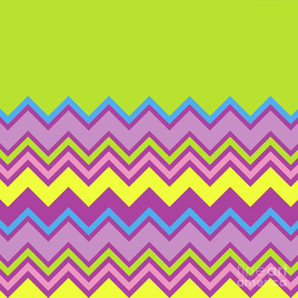 Digital Art - Chevron Bright Green Yellow Blue Purple Zigzag Pattern by Beverly Claire Kaiya