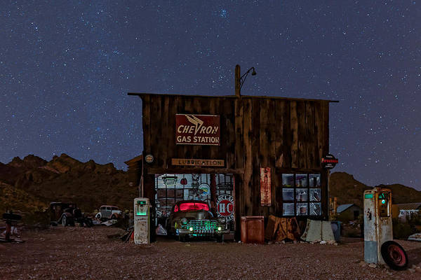Photograph - Chevron Gas Station Under The Stars by Susan Candelario