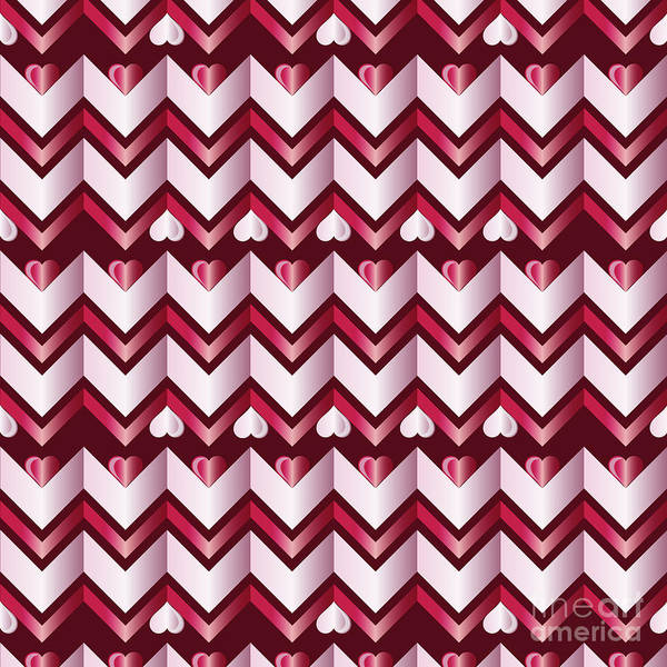 Digital Art - Chevron Hearts Metallic Ruby Red Pink Zigzag by Beverly Claire Kaiya