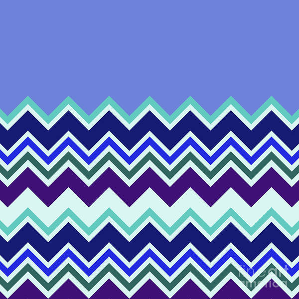 Digital Art - Chevron Lavender Turquoise Blue Purple Zigzag Pattern by Beverly Claire Kaiya