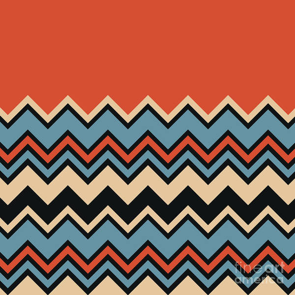Digital Art - Chevron Orange Blue Beige Black Zigzag Pattern by Beverly Claire Kaiya