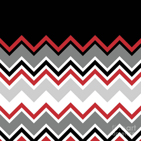 Digital Art - Chevron Red Grey Black White Zigzag Pattern by Beverly Claire Kaiya