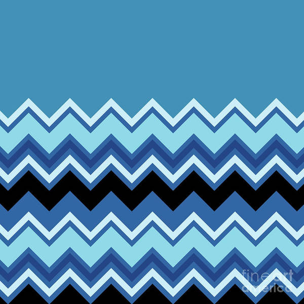 Digital Art - Chevron Summer Cobalt Sapphire Blue Black Zigzag Pattern by Beverly Claire Kaiya