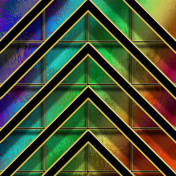 Digital Art - Chevrons And Squares On Glass by Chuck Staley