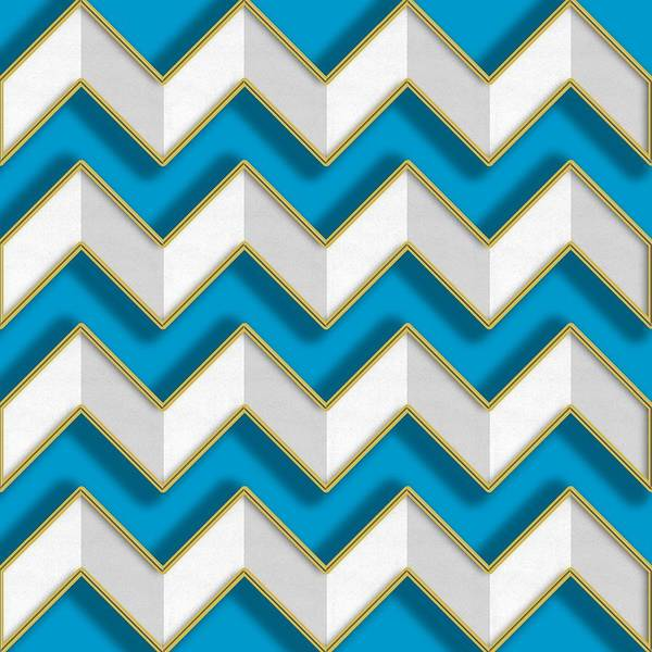 Digital Art - Chevrons - Gold Edges by Chuck Staley