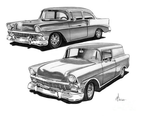 Chevrolet Drawing - Chevy 1955 by Murphy Elliott