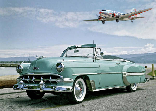 American Car Mixed Media - Chevy Bel Air Convertible, Douglas Dc-3, American Airlines Flagship Plane by Thomas Pollart