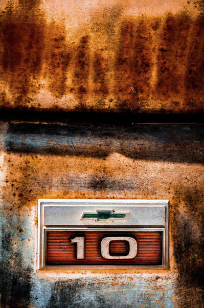 Photograph - Chevy C10 Rusted Emblem by Ron Pate