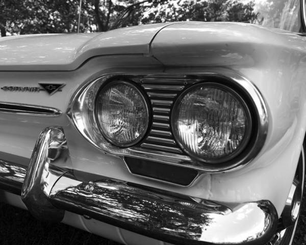 Corvair Photograph - Chevy Corvair Headights And Bumper Black And White by Toby McGuire
