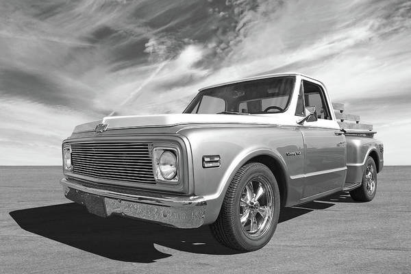 Photograph - Chevy Custom C10 Stepside In Black And White by Gill Billington