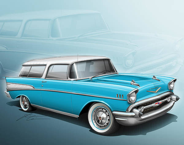Wagon Digital Art - Chevy Nomad Wagon 1957 by Etienne Carignan