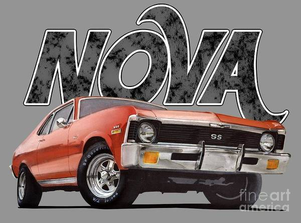 Front Digital Art - Chevy Nova by Paul Kuras