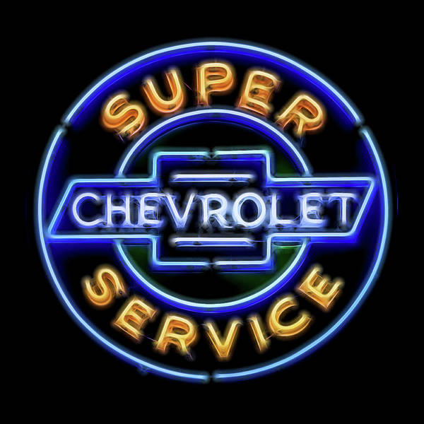 Wall Art - Photograph - Chevy Super Service Neon by Stephen Stookey