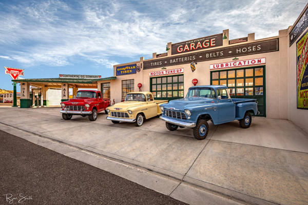 Truck Wall Art - Photograph - Chevys At The Main Street Garage - With Signature  by Ryan Smith