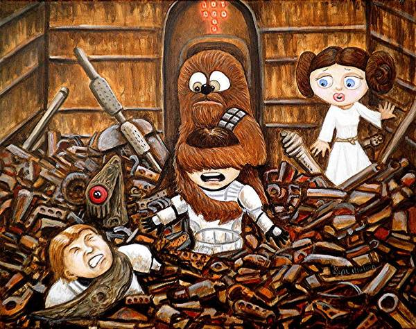 Wall Art - Painting - Chewie Get Off My Me You Big Furry Oaf by Al  Molina