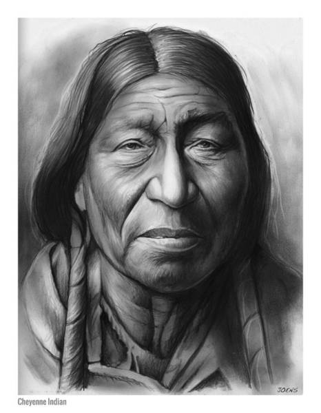 American Indian Wall Art - Drawing - Cheyenne by Greg Joens