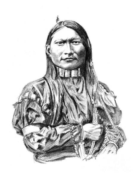 Drawing - Cheyenne Man by Toon De Zwart