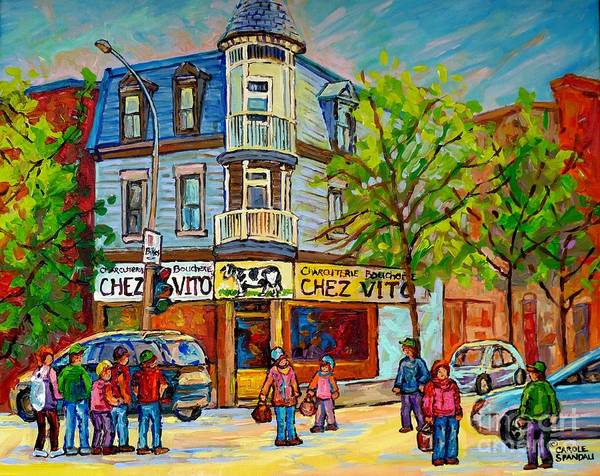 Painting - Chez Vito Rue Fairmount Landmark Architecture Beautiful Summer Scene Montreal 375 Carole Spandau Art by Carole Spandau