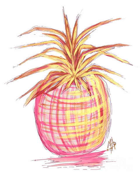 Pineapple Painting - Chic Pink Metallic Gold Pineapple Fruit Wall Art Aroon Melane 2015 Collection By Madart by Megan Duncanson