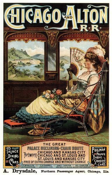 Chicago And Alton Railroad - Woman Sitting On Reclining Chair - Vintage Advertising Poster Art Print