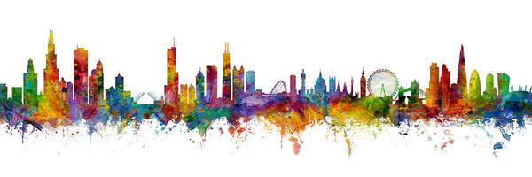 Wall Art - Digital Art - Chicago And London Skylines Mashup by Michael Tompsett
