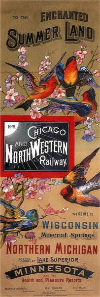 Wall Art - Mixed Media - Chicago And Northwestern Railway - Tthe Enchanted Summer Land - Retro Travel Poster - Vintage Poster by Studio Grafiikka
