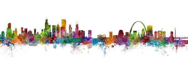 Digital Art - Chicago And St Louis Skyline Mashup by Michael Tompsett