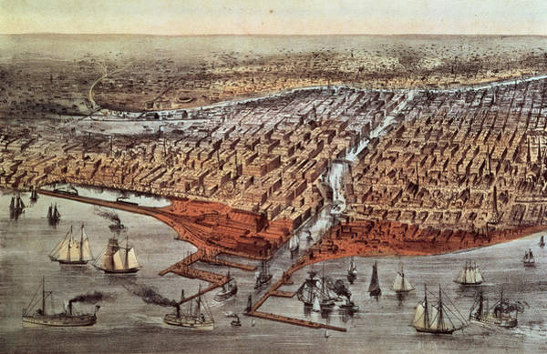 Wall Art - Painting - Chicago As It Was by Currier and Ives