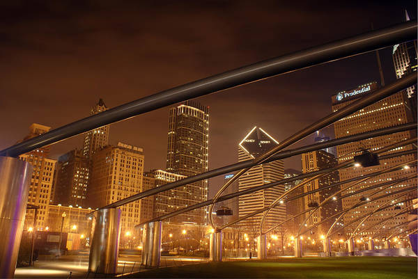 Illinois Art Photograph - Chicago At Night by Andreas Freund