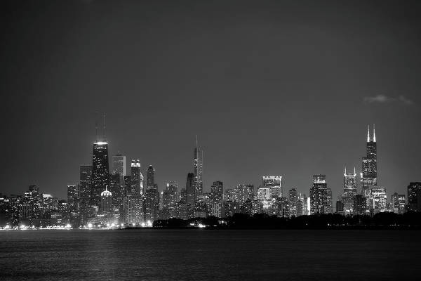 Wall Art - Photograph - Chicago At Night Bw by John Gusky