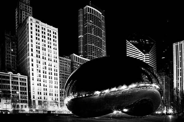 Chicago Skyline Art Photograph - Chicago Bean At Night by Andrew Soundarajan