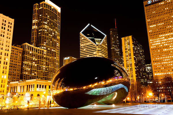 Editorial Photograph - Chicago Bean Cloud Gate At Night by Paul Velgos