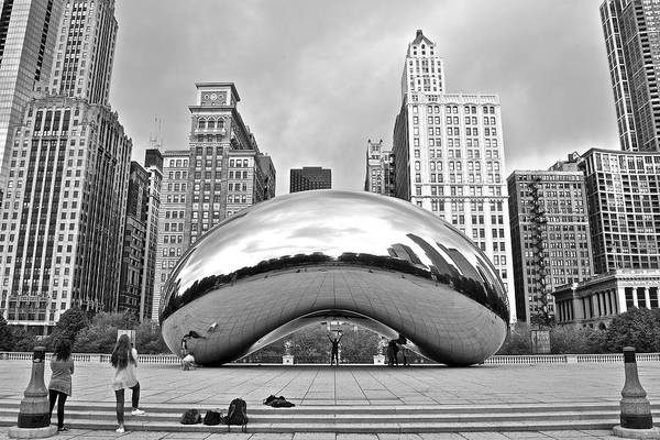 Millenium Photograph - Chicago Bean In Black And White by Frozen in Time Fine Art Photography