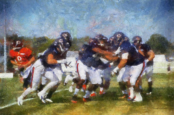 Practice Mixed Media - Chicago Bear Camp Blocking Pa 02 by Thomas Woolworth