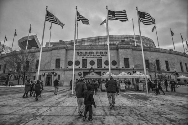 Photograph - Chicago Bears Soldier Field Black White 7861 by David Haskett II