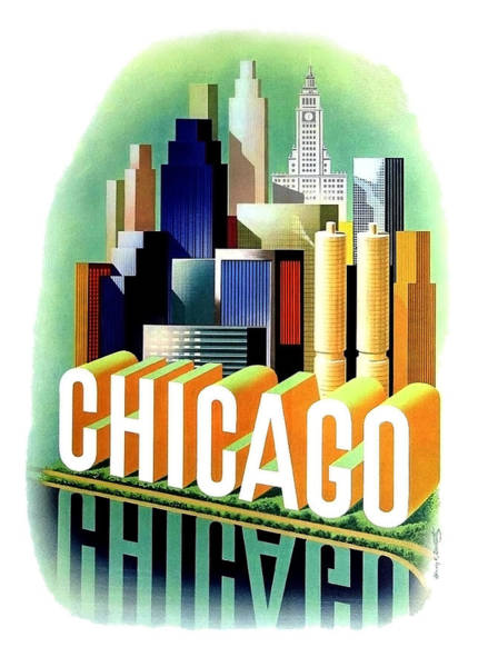 Wall Art - Painting - Chicago, Big City, Skyscrapers, Travel Poster by Long Shot