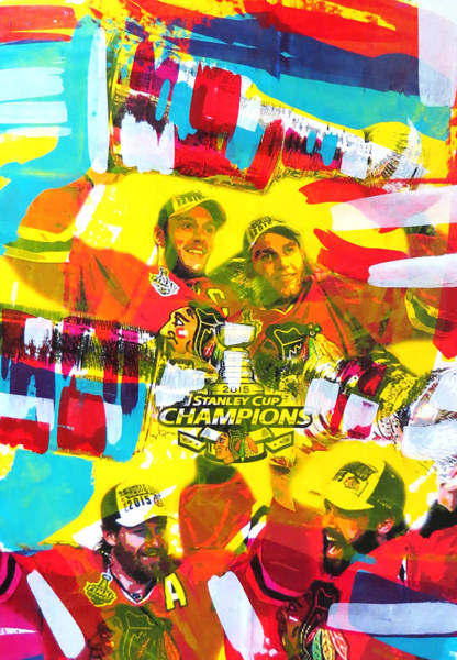 3 Painting - Chicago Blackhawks 2015 Champions by Elliott Aaron From