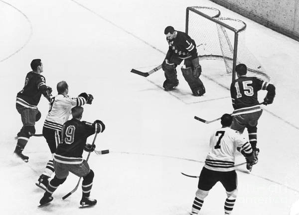 Chicago Blackhawks Bobby Hull Scores On Rangers Ed Giacomin. 1966 Art Print by William Jacobellis