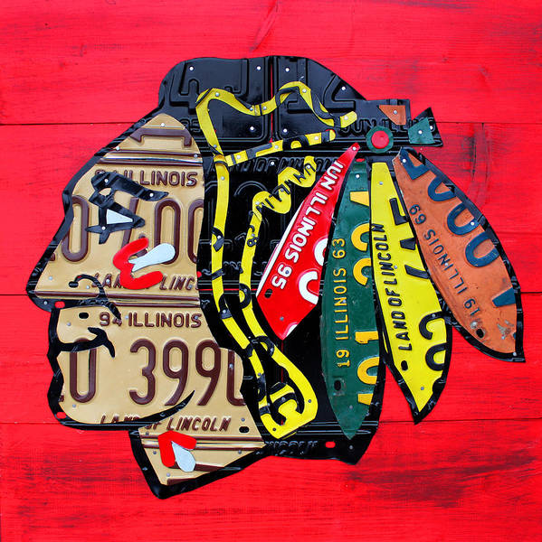 Wall Art - Mixed Media - Chicago Blackhawks Hockey Team Vintage Logo Made From Old Recycled Illinois License Plates Red by Design Turnpike