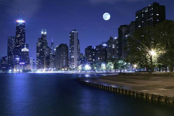 Oprah Wall Art - Photograph - Chicago Blue Moon by Frozen in Time Fine Art Photography