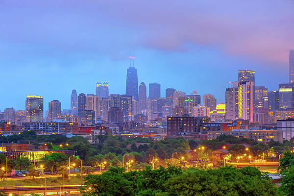 Photograph - Chicago Blues - Downtown Skyline Under Clouds by Gregory Ballos