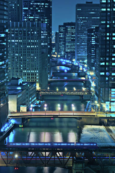 Night Wall Art - Photograph - Chicago Bridges by Steve Gadomski