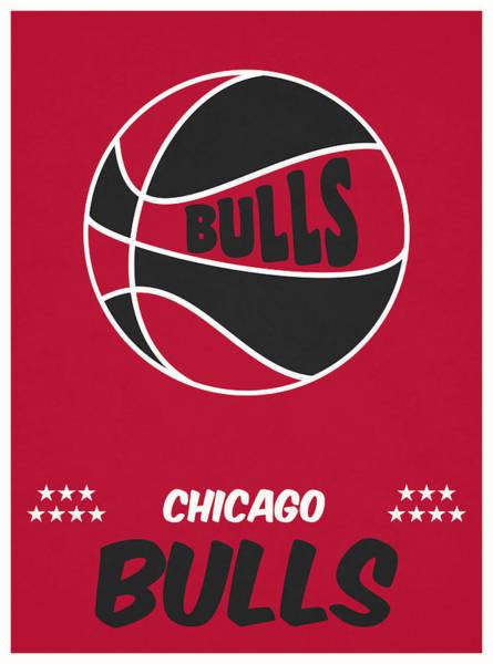Wall Art - Mixed Media - Chicago Bulls Vintage Basketball Art by Joe Hamilton