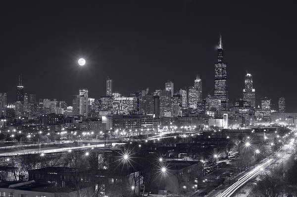 Full Moon Wall Art - Photograph - Chicago By Night by Steve Gadomski