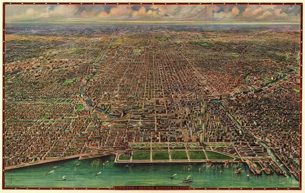Vintage Chicago Painting - Chicago, Central Business Section by Arno Reincke