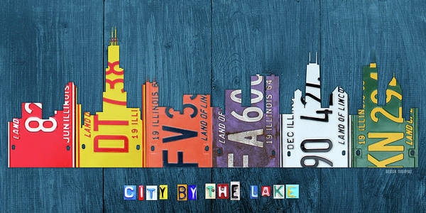 Wall Art - Mixed Media - Chicago City By The Lake Recycled Vintage Skyline License Plate Art by Design Turnpike