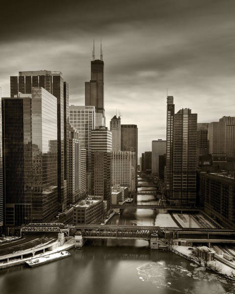 Wall Art - Photograph - Chicago City View Afternoon B And W 16x20 by Steve Gadomski