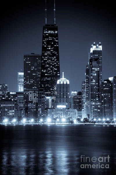 Chicago Cityscape At Night Art Print